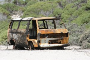 Such a familiar site in South Africa. A random burned out taxi.
