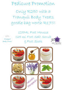 Tranquil Body Treats & Jenez Pedicure Promotion