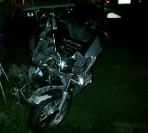 Kyle's destroyed bike