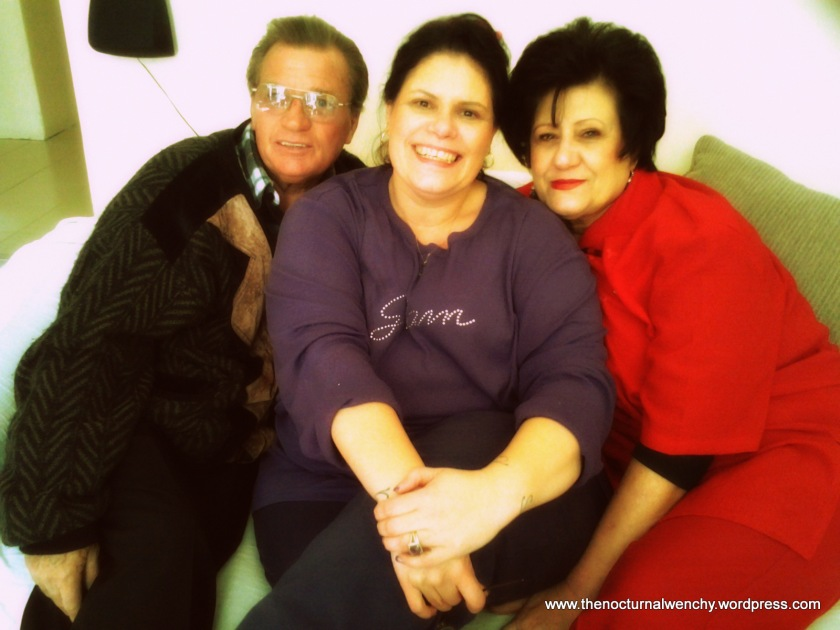 On my 40th birthday with my Dad Alex and my Mammie, Yvonne.